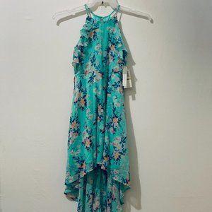 MY MICHELLE GIRLS LIGHT BLUE FLORAL HIGH LOW DRESS